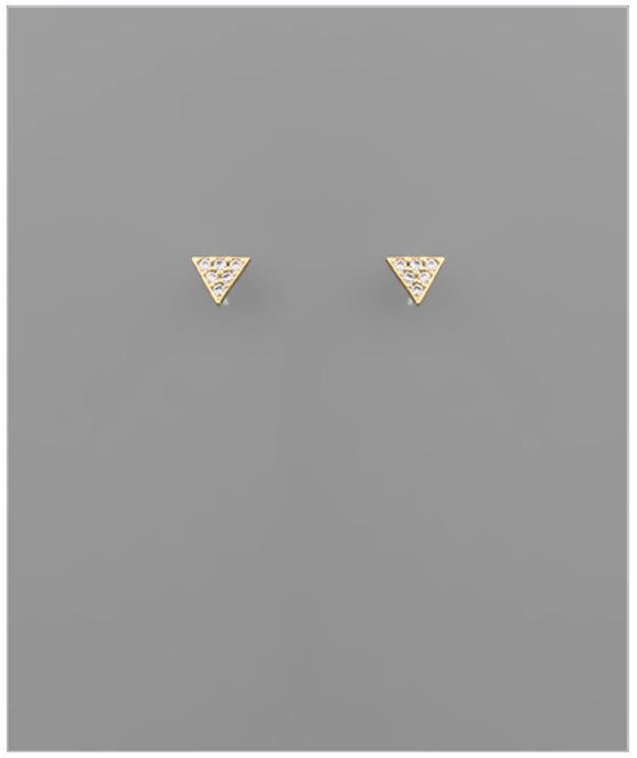 Triangle CZ Studs - 14k Gold Plated