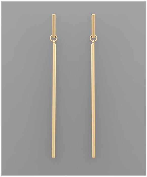 Walk The Line Earrings - Matte Gold