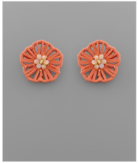 Flower Child Stud Earrings - Coral