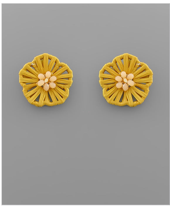 Flower Child Stud Earrings - Yellow