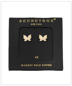 Butterfly Stud Earrings - CZ - 14K Gold Plate