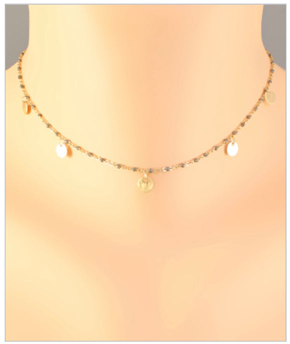 Peyton Disc Necklace - Gray