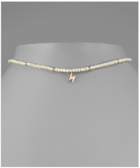 McKenzie Lightning Choker - Single Charm - Ivory