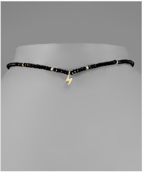 McKenzie Lightning Choker - Single Charm - Black