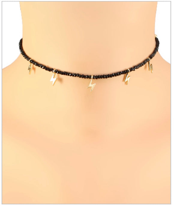 McKenzie Lightning Choker - Multiple Charms - Black