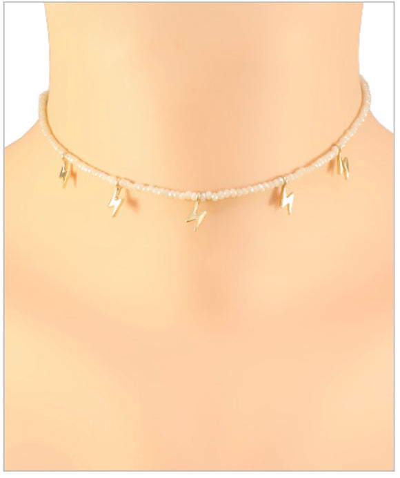 McKenzie Lightning Choker - Multiple Charms - Ivory