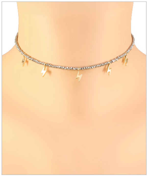 McKenzie Lightning Choker - Multiple Charms - Hematite