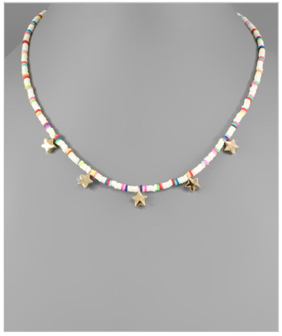 Lucky Stars Choker - White/Multi