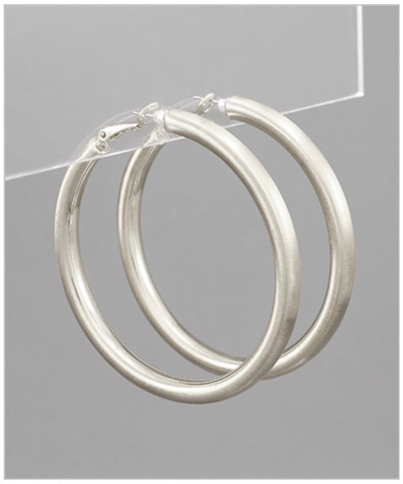 Arden Hoops - Brushed Silver