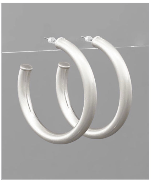 Shay Hoops - Brushed Silver