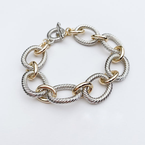 Two Tone Link Bracelet - Toggle Clasp