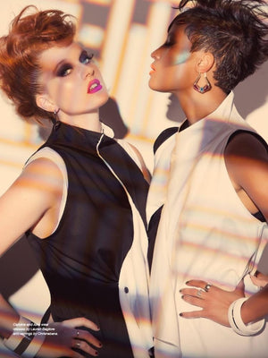 Icona Pop wearing Lauren Bagliore Black and White top