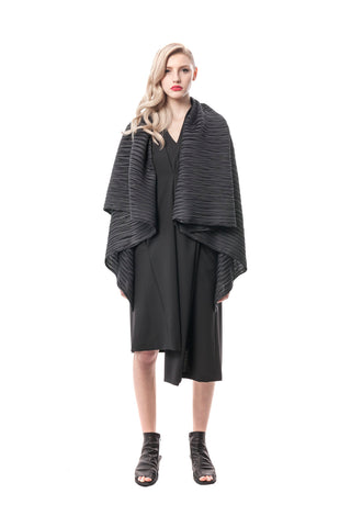 Black Palermo Pleated Convertible Jacket