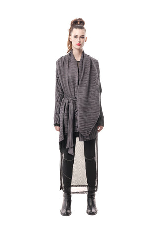 Grey Palermo Pleated Convertible Jacket