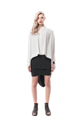 White La Brera Oversized Cropped Button-Down Menswear Shirt