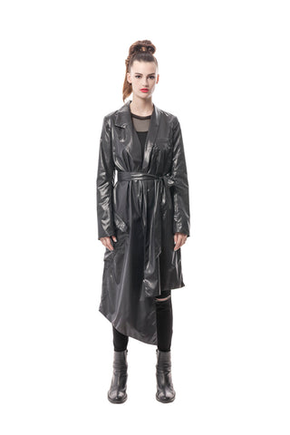 Black Nylon Asymmetrical Long Trench Coat