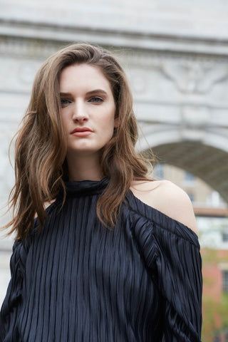 New York, Black Taormina Pleated Top