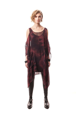 Procida Hand-Painted Silk Overlay/Dress Bordo