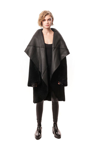 Celia Cocoon Reversible Shearling Fur Black