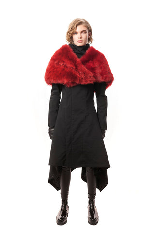 Celia Fur Collar Red