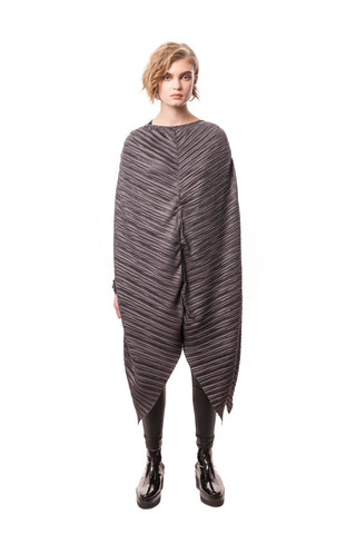 Praiano Oversized Pleated Poncho Dress Anthracite