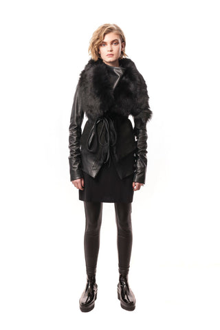 Tirrenia Reversible + Convertible Fur Vest with Ties Black Genuine Toscana Shearling