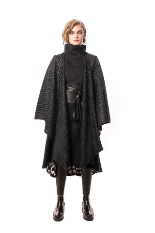 Black Padova Poncho Metallic Hounds Tooth + Pleated Fabric