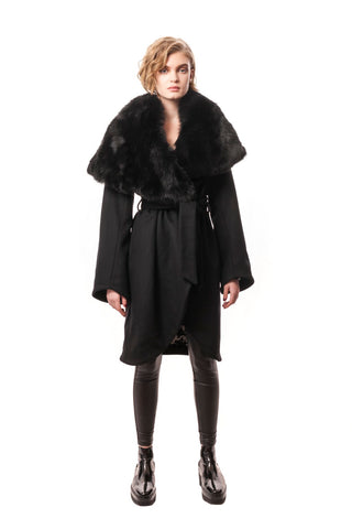 Celia Cashmere Coat with Detachable Fur Collar Black