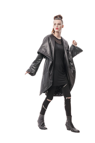 Black Celia Cocoon Coat in Hi-Tech Japanese Nylon