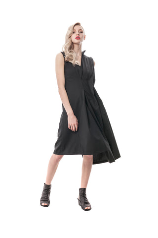 Black Rivoli Asymmetrical Romper Dress