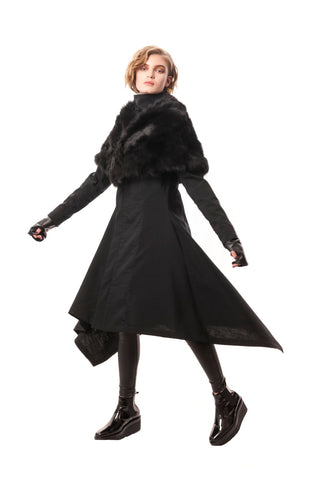 Celia Fur Collar Black