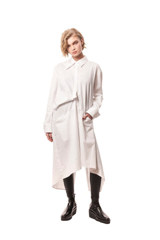 San Gennaro Shirt Dress in Luxe Cotton Stretch Bianco/White
