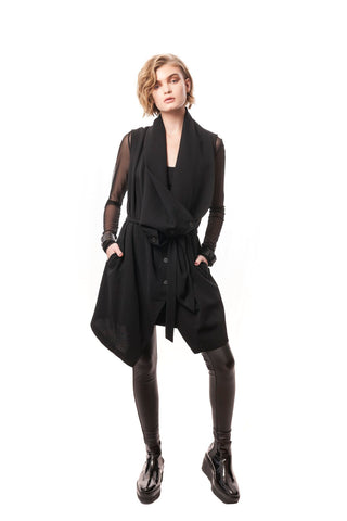 Vieste Button-Down Draped Vest/Dress Black