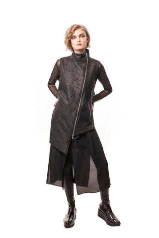 Camoglie Wool-Cashmere Crackle Wool Vest/Dress with Silk Underlay Black