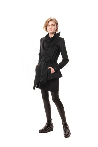 Bolsena Cashmere Tailored Wrap Jacket Black