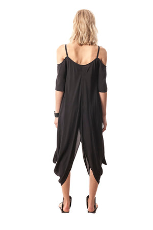 Elegantly Draped Peek-A-Boo-Shoulder Dress