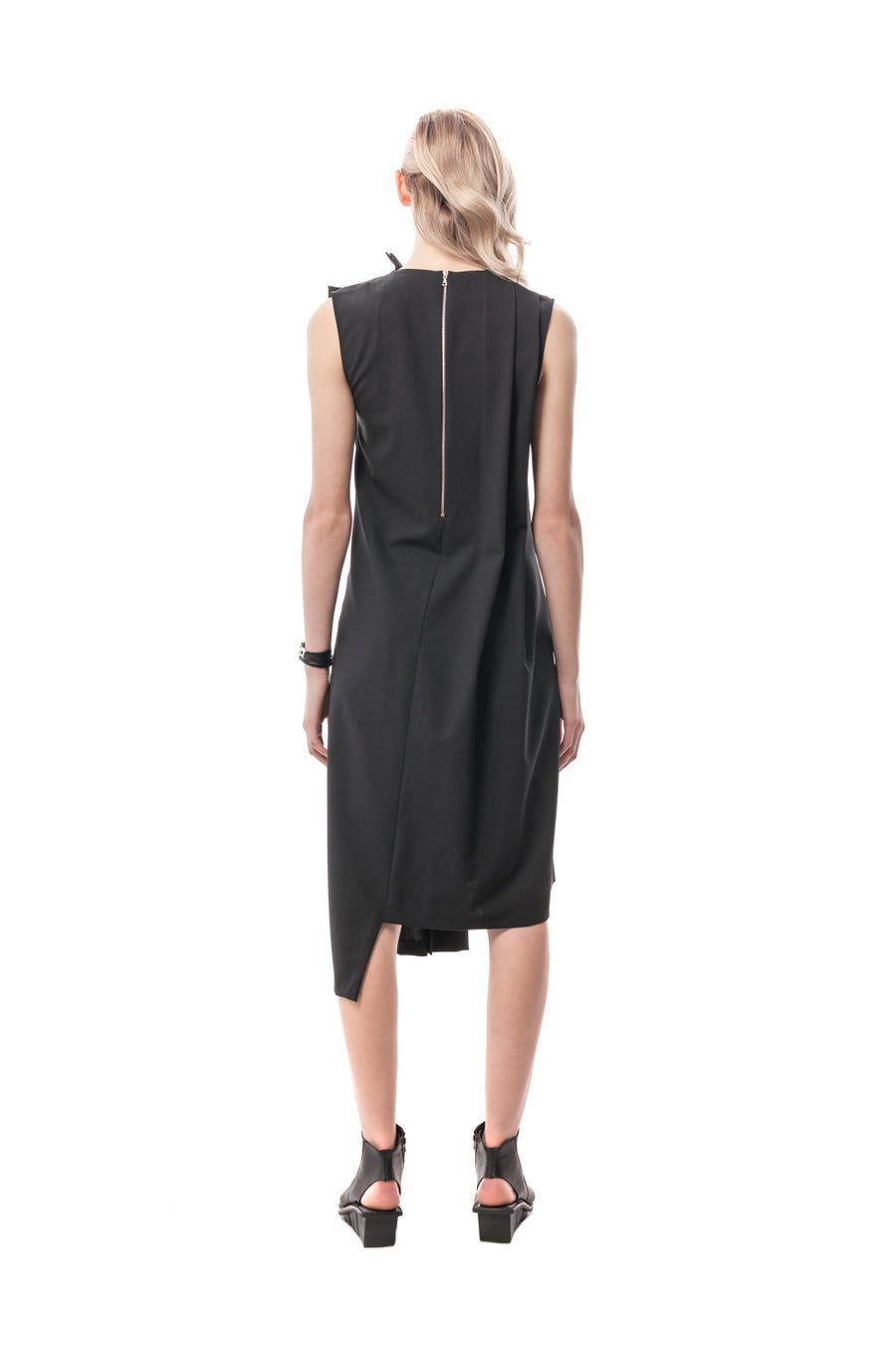 Black Rivoli Asymmetrical Romper Dress, wool