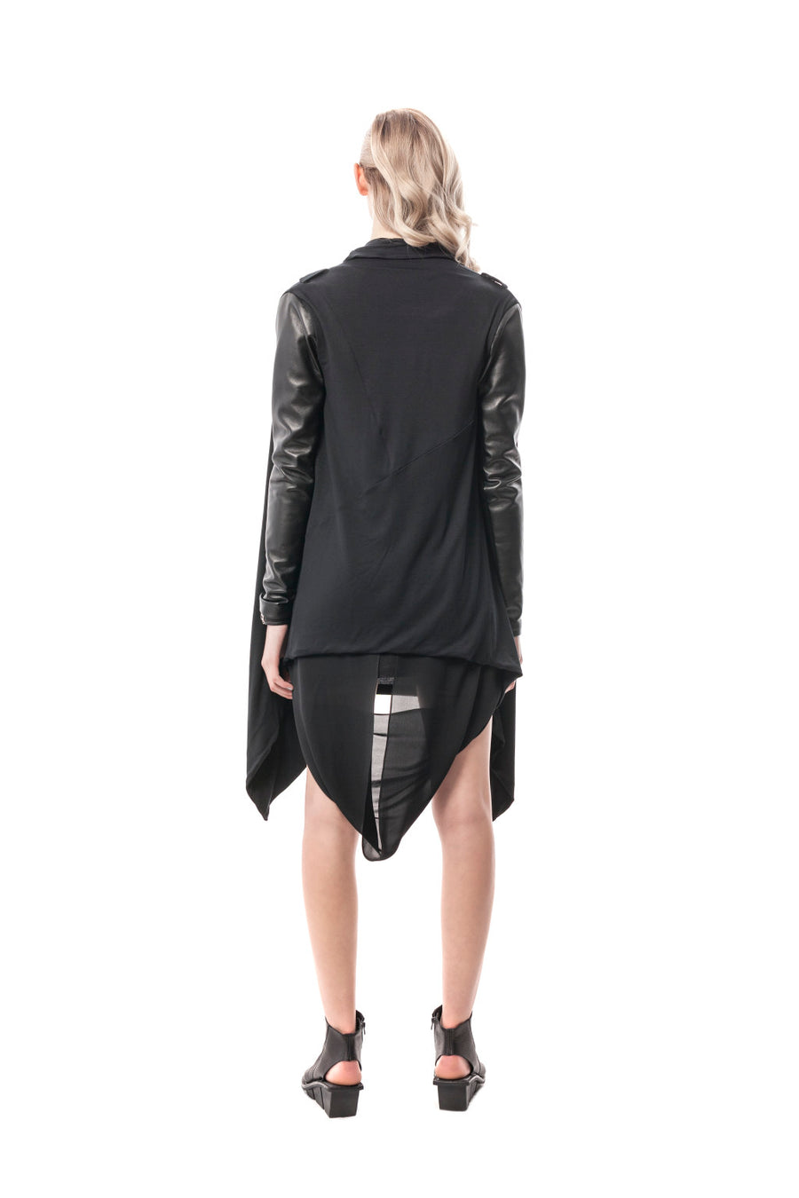 Black Trieste Leather Sweater Wrap Jacket
