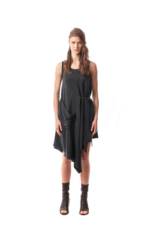 Diamante Origami Dress Washed Silk Charmeuse