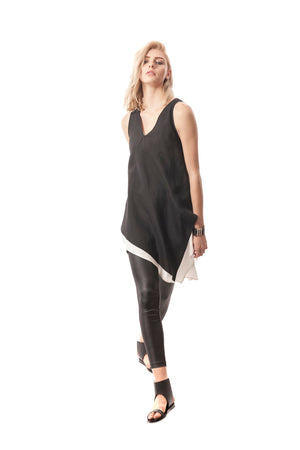 V-Neck Double-Layer Tunic, Silk/Linen