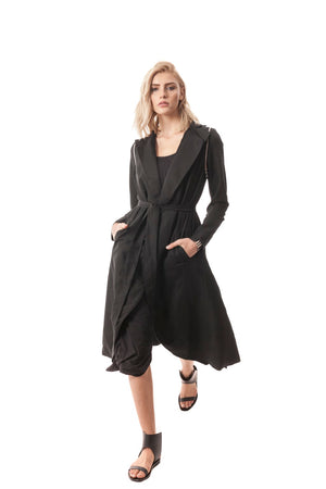 Long Convertible Duster Coat/Vest in Silk/Linen