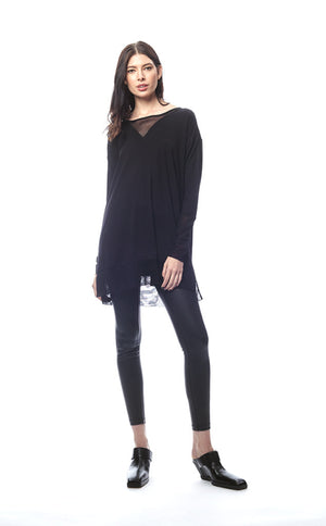 Lucia Draped Mesh V-Neck Tunic/Top
