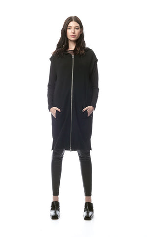 Carmina Stretch Wool Crepe Zip Hoodie/Dress/Vest