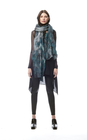 San Benedetto Hand-Painted + Distressed Ruffled Crinkle Scarf/Wrap