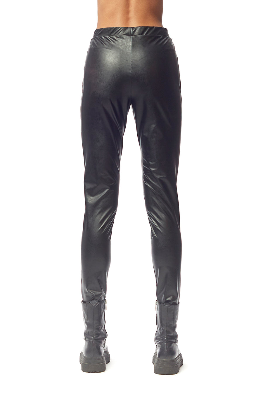 Luciana Basic Legging Black Matte Leatherette