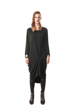 Black Oversized Draped Dress