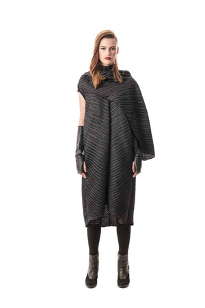 Black Giotto Pleated Cape Dress, 100% Italian PL. Fabric