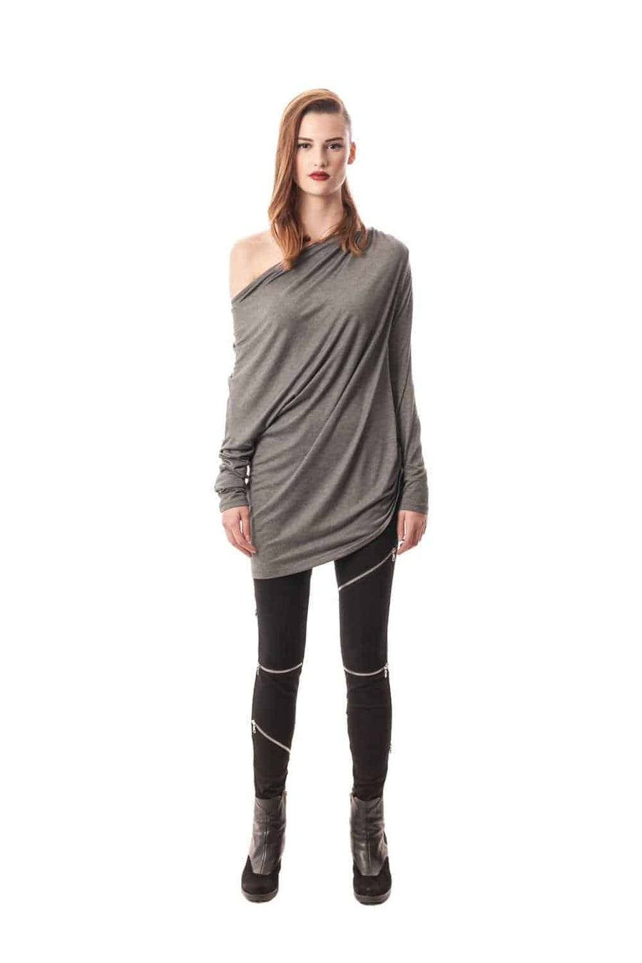 Black Riccione Draped Top