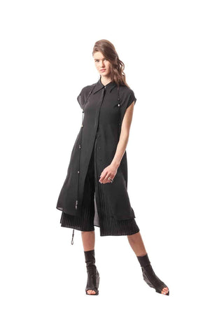 Black Ottaviano Silk Button-Down Overlay Dress, 100% Silk