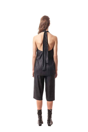 Black Taormina Pleated Convertible Halter Top. 100% PL Plisse. Made in Italy.